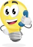 Light Bulb Cartoon Vector Character - Talking on Phone