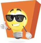 Light Bulb Cartoon Vector Character - Too Bright with Sunglasses Concept Illustration