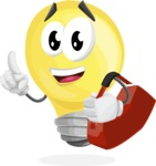 Light Bulb Cartoon Vector Character - Traveling with Suitcase