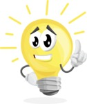 Light Bulb Cartoon Vector Character - Turned On and Bright