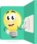 Light Bulb Cartoon Vector Character - Turning Light Switch On Concept Illustration