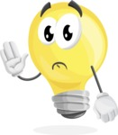 Light Bulb Cartoon Vector Character - Waving for Goodbye with a Hand