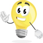 Light Bulb Cartoon Vector Character - Waving for Hello with a Smiling Face