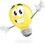 Light Bulb Cartoon Vector Character - Waving with a Hand