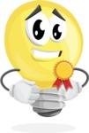 Light Bulb Cartoon Vector Character - Winning a Prize