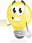 Light Bulb Cartoon Vector Character - With a Blank Business card