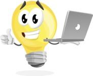 Light Bulb Cartoon Vector Character - With a Laptop