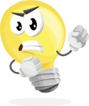 Light Bulb Cartoon Vector Character - With Angry Face