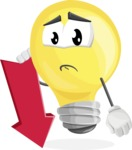 Light Bulb Cartoon Vector Character - With Arrow going Down