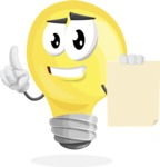 Light Bulb Cartoon Vector Character - With Blank Paper