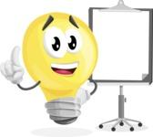 Light Bulb Cartoon Vector Character - With Blank Presentation Board
