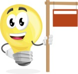 Light Bulb Cartoon Vector Character - With Blank Real Estate Sign