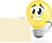 Light Bulb Cartoon Vector Character - With Blank Sign Template