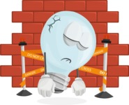 Light Bulb Cartoon Vector Character - With Bricks Wall Background
