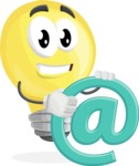 Light Bulb Cartoon Vector Character - With Email Sign - Web