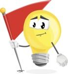 Light Bulb Cartoon Vector Character - with Flag