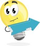 Light Bulb Cartoon Vector Character - with Forward Arrow