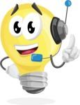 Light Bulb Cartoon Vector Character - With Headphones