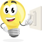 Light Bulb Cartoon Vector Character - With Light Switch