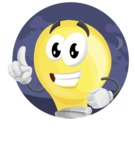 Light Bulb Cartoon Vector Character - With Night Background Sticker Template