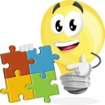 Light Bulb Cartoon Vector Character - with Puzzle
