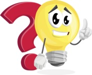 Light Bulb Cartoon Vector Character - with Question mark