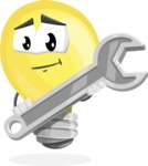 Light Bulb Cartoon Vector Character - with Repairing tool - wrench