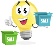 Light Bulb Cartoon Vector Character - With Sale Boxes
