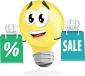 Light Bulb Cartoon Vector Character - With Shopping Bags