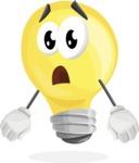 Light Bulb Cartoon Vector Character - With Stunned Face