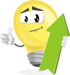 Light Bulb Cartoon Vector Character - with Up arrow