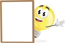Light Bulb Cartoon Vector Character - With Whiteboard and Smiling