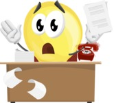 Light Bulb Cartoon Vector Character - Working On Desk and Stressed from Work