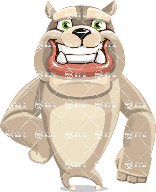 Cute English Bulldog Cartoon Vector Character AKA Rocky the Bulldog - Normal