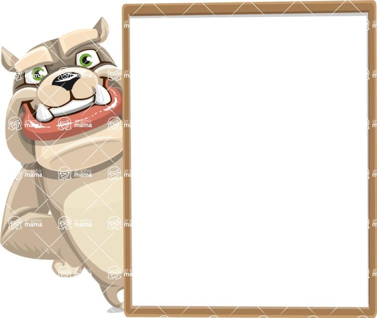 Cute English Bulldog Cartoon Vector Character AKA Rocky the Bulldog - Presentation 5