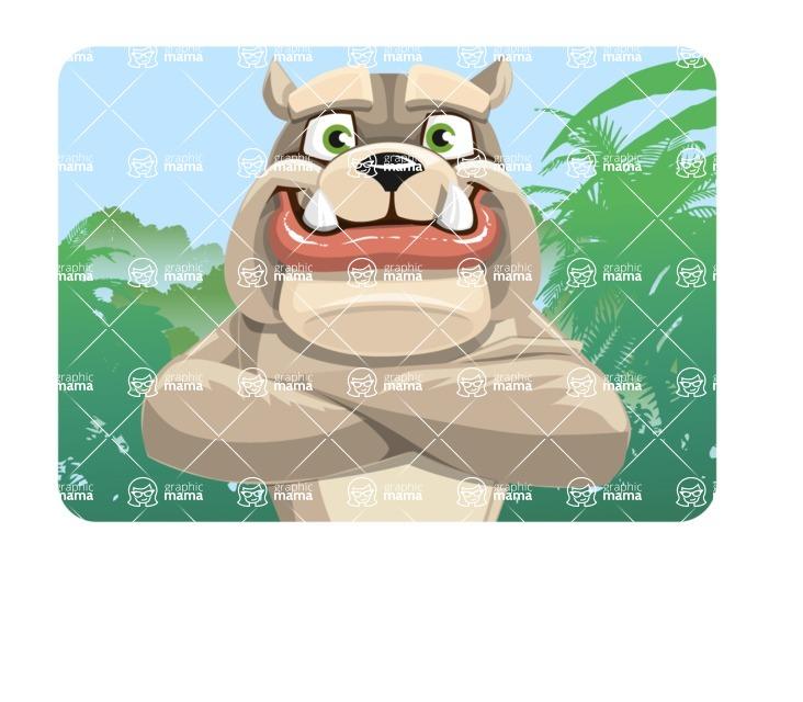 Cute English Bulldog Cartoon Vector Character AKA Rocky the Bulldog - Shape 1