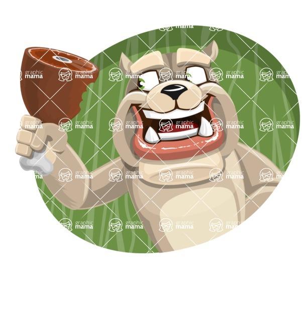 Cute English Bulldog Cartoon Vector Character AKA Rocky the Bulldog - Shape 4
