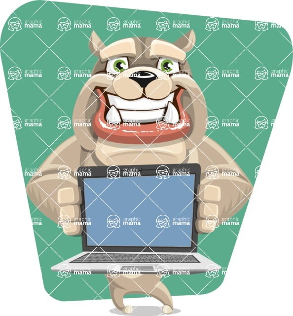 Cute English Bulldog Cartoon Vector Character AKA Rocky the Bulldog - Shape 6