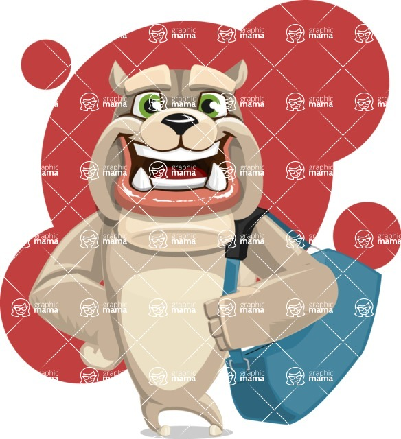 Cute English Bulldog Cartoon Vector Character AKA Rocky the Bulldog - Shape 7