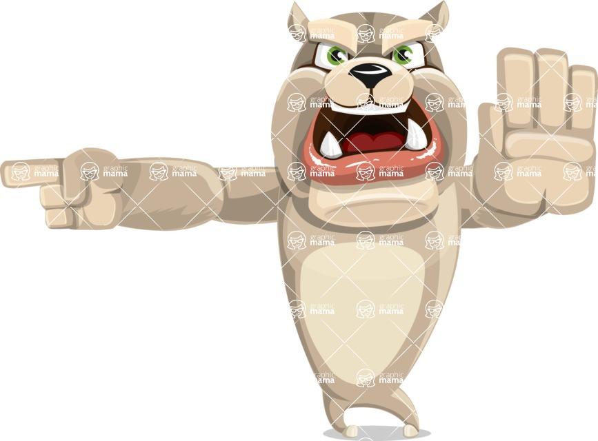 Cute English Bulldog Cartoon Vector Character AKA Rocky the Bulldog - Direct Attention