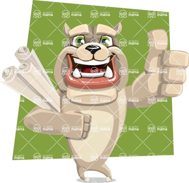 Cute English Bulldog Cartoon Vector Character AKA Rocky the Bulldog - Shape 10