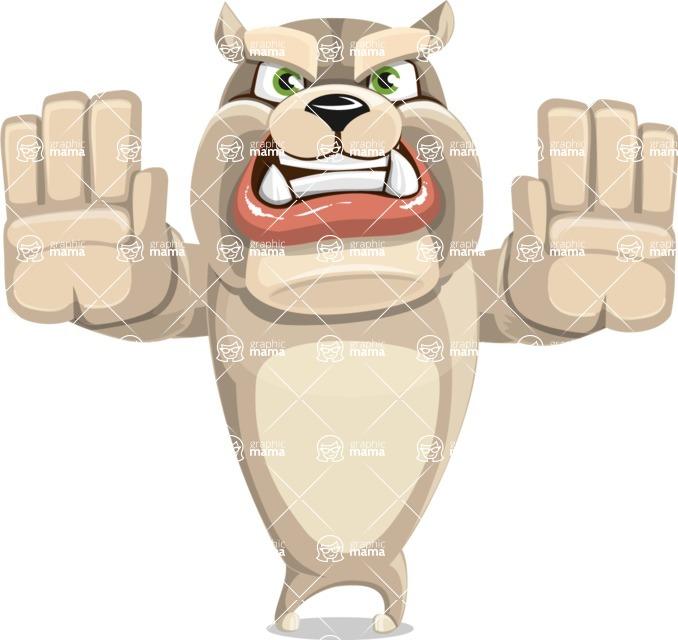 Cute English Bulldog Cartoon Vector Character AKA Rocky the Bulldog - Stop