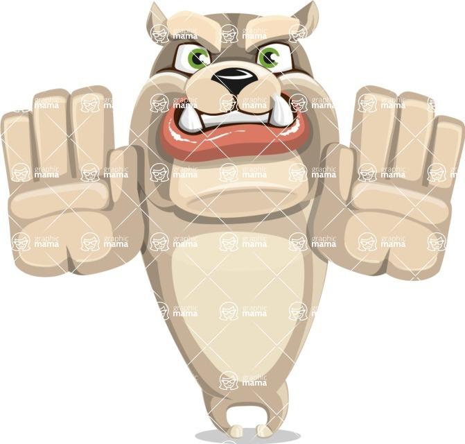Cute English Bulldog Cartoon Vector Character AKA Rocky the Bulldog - Stop 2
