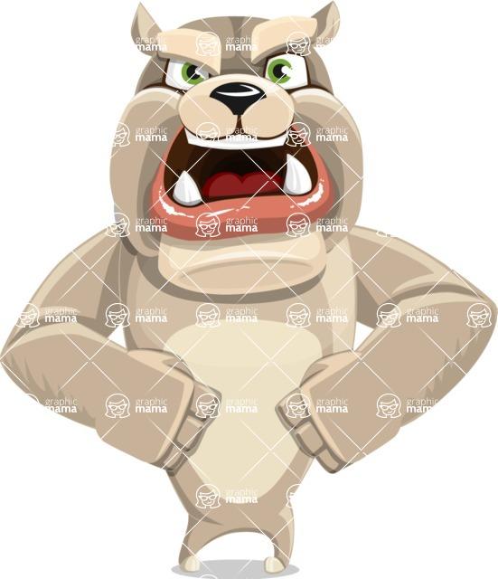 Cute English Bulldog Cartoon Vector Character AKA Rocky the Bulldog - Angry