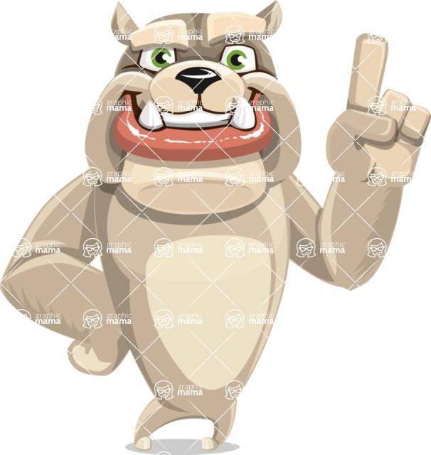 Cute English Bulldog Cartoon Vector Character AKA Rocky the Bulldog - Attention