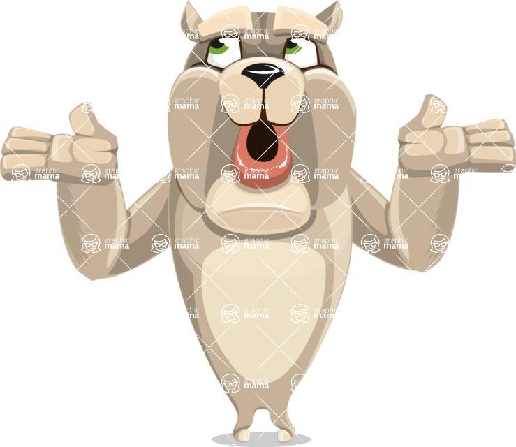Cute English Bulldog Cartoon Vector Character AKA Rocky the Bulldog - Lost