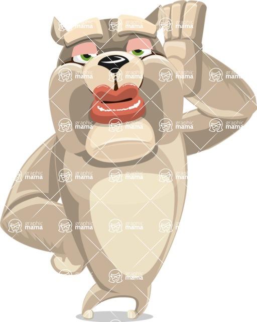 Cute English Bulldog Cartoon Vector Character AKA Rocky the Bulldog - Duckface