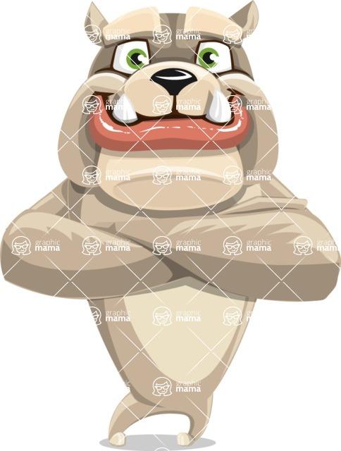 Cute English Bulldog Cartoon Vector Character AKA Rocky the Bulldog - Petient
