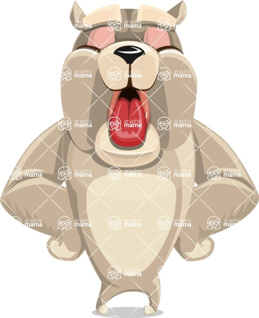Cute English Bulldog Cartoon Vector Character AKA Rocky the Bulldog - Making Face
