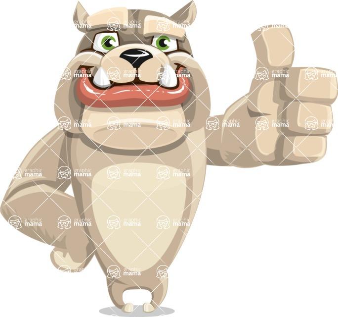 Cute English Bulldog Cartoon Vector Character AKA Rocky the Bulldog - Thumbs Up